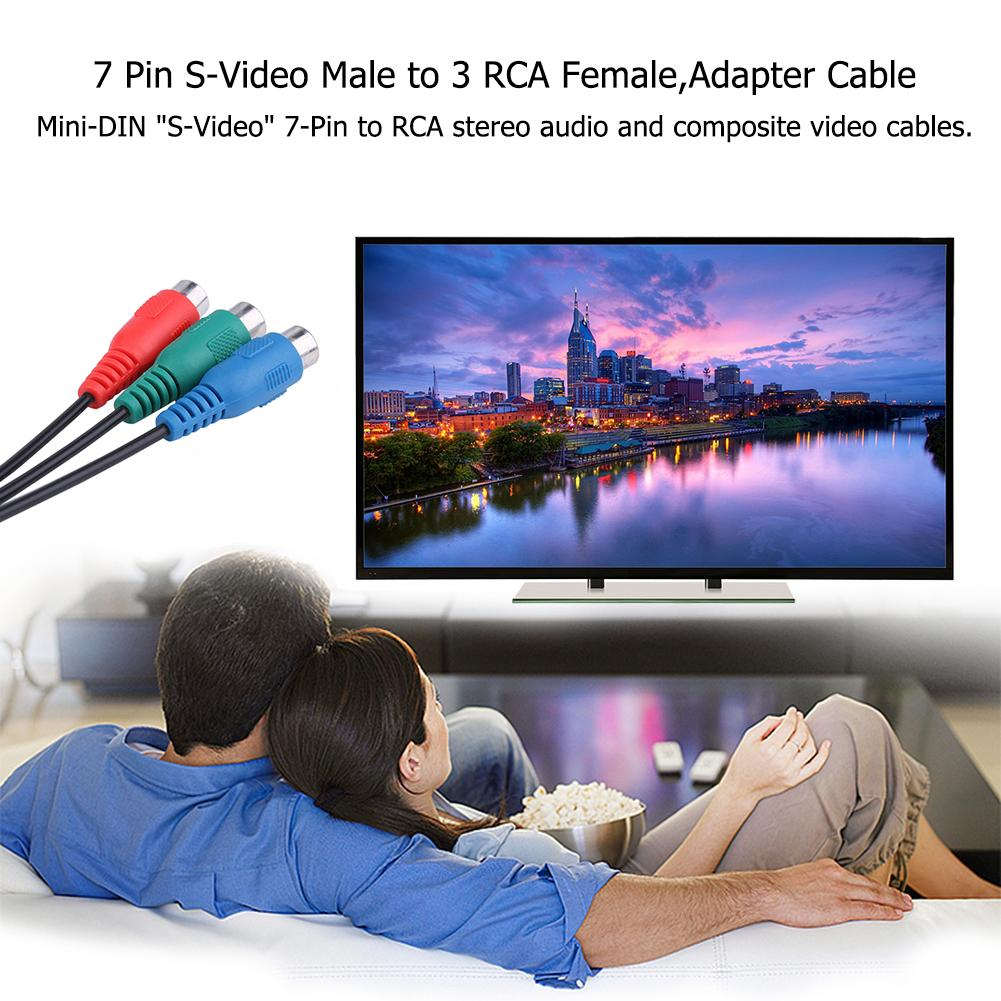 7 PIN S-VIDEO Male A to 3 RCA AV A//V Adapter Cord Cable for Laptop PC TV