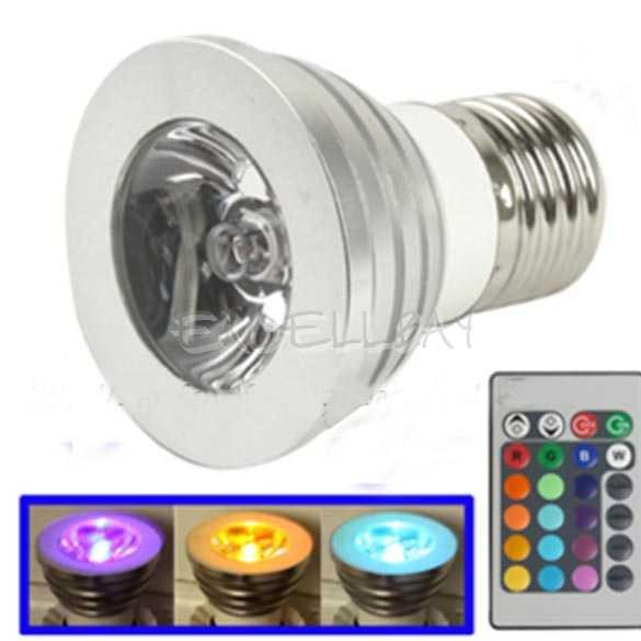 3w 16couleurs led lampe avec t l commande ampoule lumi re color chang e27 rvb ebay. Black Bedroom Furniture Sets. Home Design Ideas