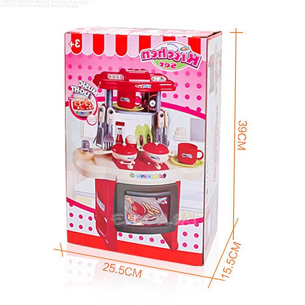 Pink kids electronic kitchen cooking tools pretend toy for Electronic kitchen set