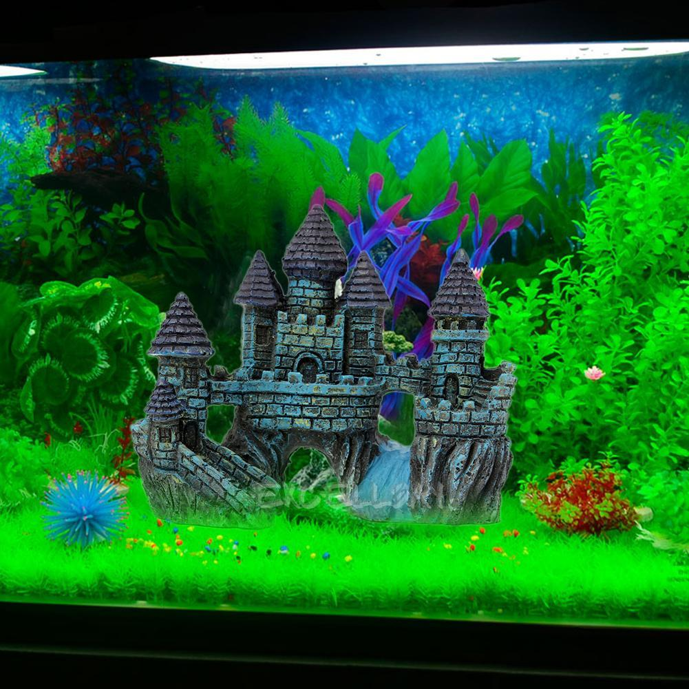 Fish tank blue tower castle shrimp pet cave decor aquarium for Aquarium cave decoration