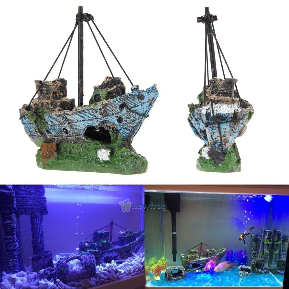 Boat ship wreck sunk ornament aquarium fish tank air split for Aquarium airplane decoration