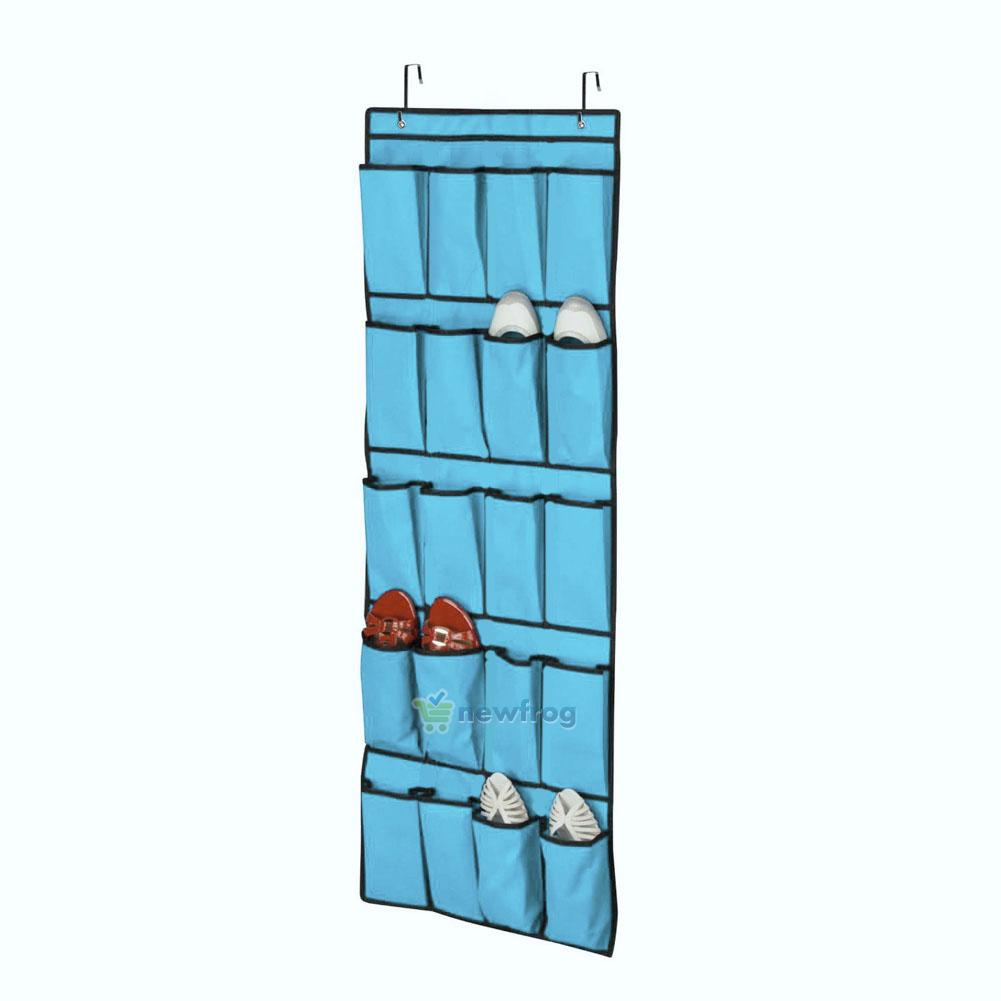 20 pocket over door shoes organizer hanging hanger closet space save storage bag ebay - Shoe organizer for small space paint ...