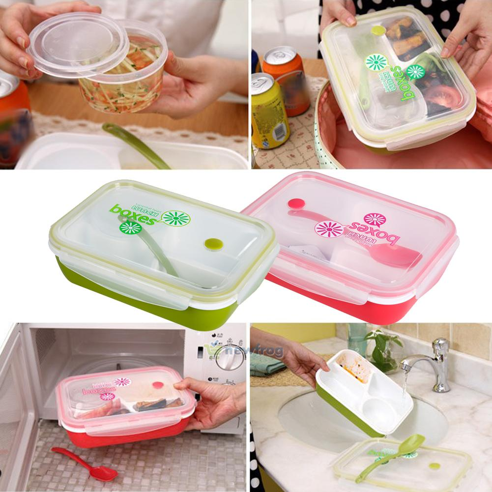 separated bento lunch box set utensils picnic food storage containers microwa. Black Bedroom Furniture Sets. Home Design Ideas