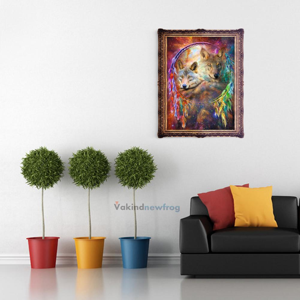 5d wolf diy diamond embroidery painting dream catcher for Room decor 5d