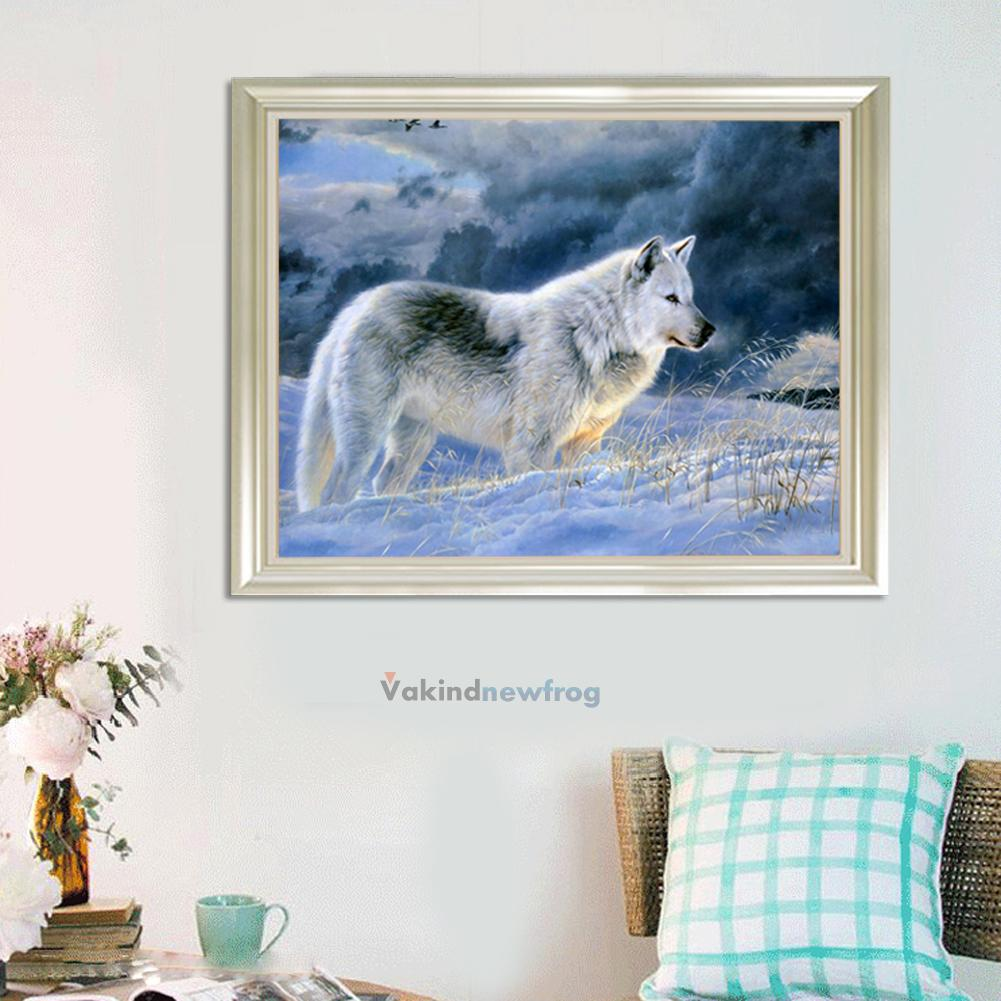 5d Diy Diamond Painting Snow Wolf Embroidery Cross Stitch