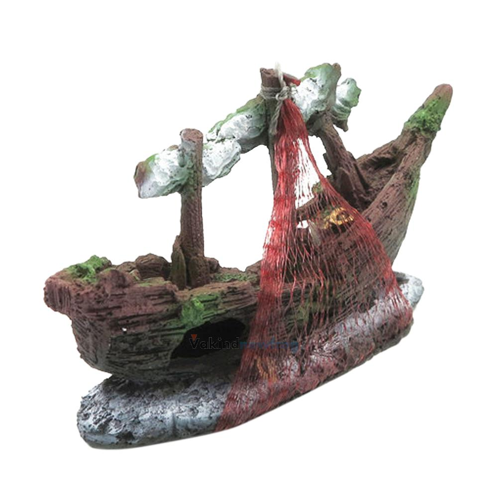 Aquarium ornament destroyer sailing boat ship wreck fish for Aquarium cave decoration