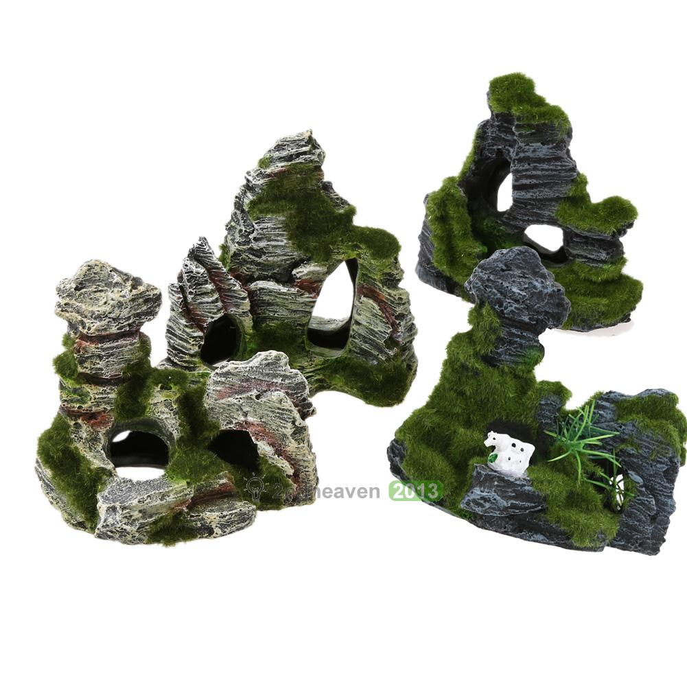 Aquarium fish tank ornament rockery mountain cave for Aquarium cave decoration